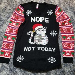 Sweaters - Christmas Ugly Funny Cat Sweater Women's XL